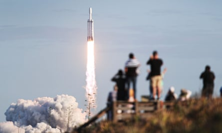 The SpaceX Falcon Heavy rocket lifts off from Nasa's Kennedy Space Center in Florida, April 2019
