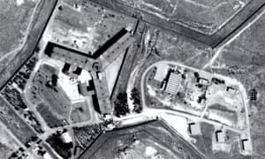 An aerial view of Saydnaya prison