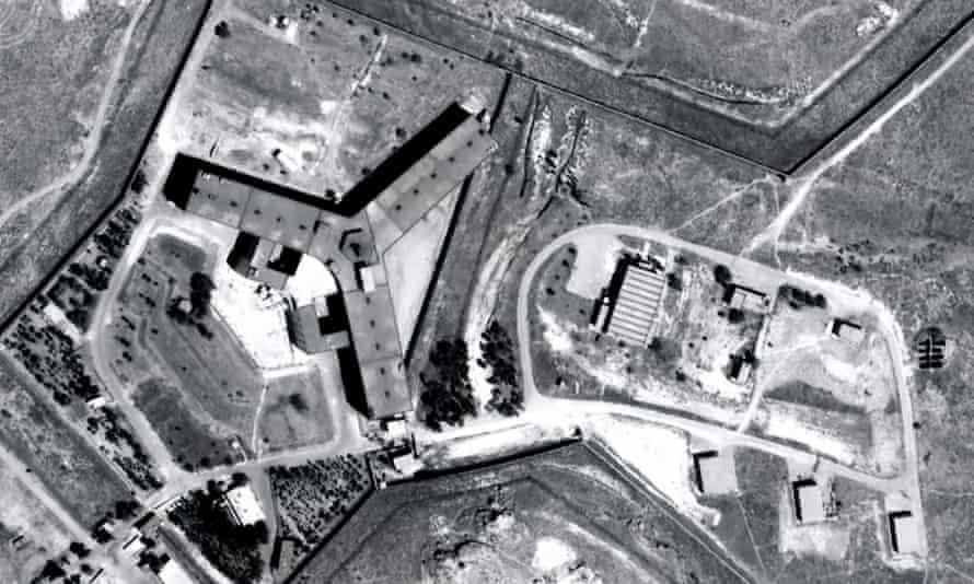 An aerial view of Saydnaya prison