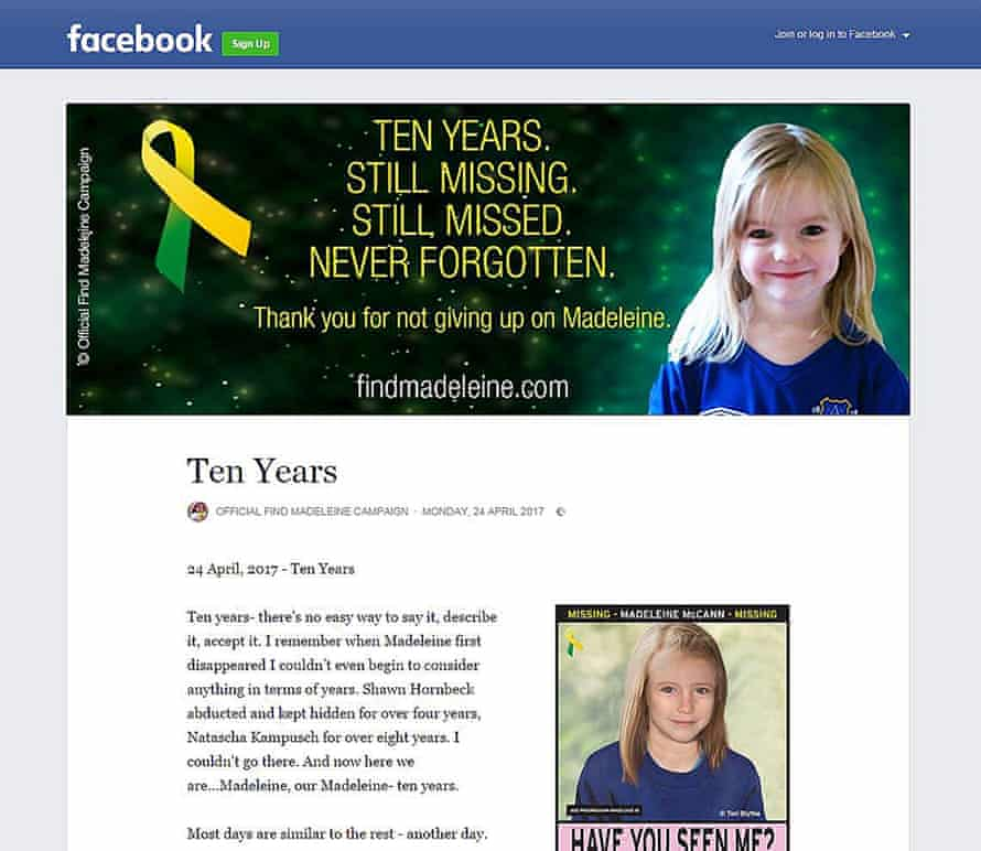 A Facebook post by Kate McCann 10 years after her daughter's disappearance.