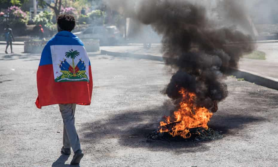 Protesters demonstrate in Port-au-Prince, Haiti, to demand the resignation of Jovenel Moïse, on 7 February.
