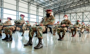 South African National Defence Force (SANDF) military health practitioners are seen after their arrival at Air Force Station Port Elizabeth, a South African Air Force facility situated on the north-eastern side of the Port Elizabeth Airport, on 5 July, 2020.