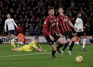 Mohamed Salah scores against Bournemouth from Naby Keita's assist at the Vitality Stadium in December.
