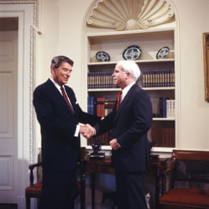 President Ronald Reagan and John McCain in the White house during the 1980s.