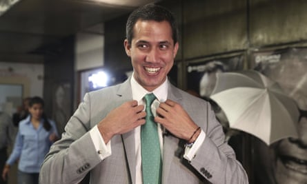 Venezuela's opposition leader Juan Guaidó, who declared himself the interim-president of Venezuela before the start of an interview, at the Popular Will party's headquarters in Caracas on 10 May.