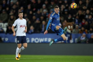 Jamie Vardy volleys in the opener.