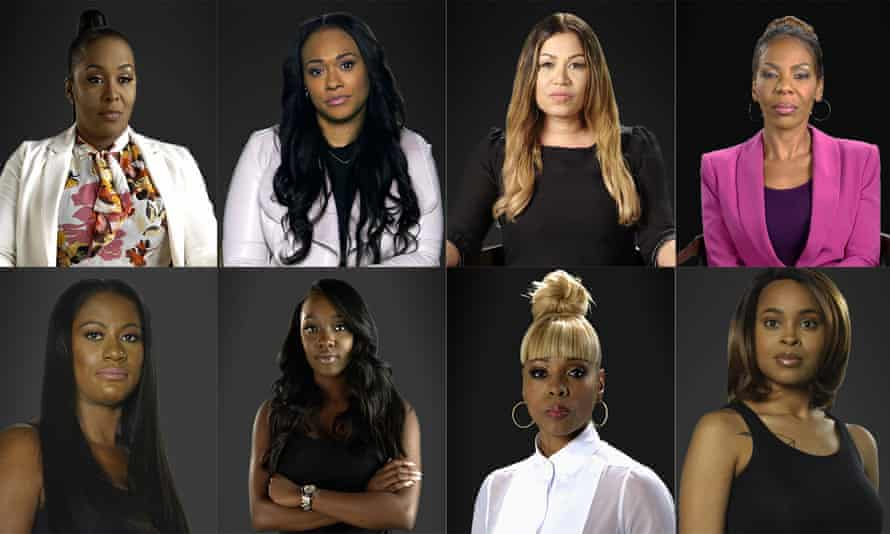 Among the women featured in Surviving R Kelly: top row from left, Michelle Kramer, Lisa VanAllen, Lizzette Martinez, Andrea Kelly; bottom row from left, Asante McGee, Faith Rodgers, Stephanie 'Sparkle' Edwards, Jerhonda Pace.