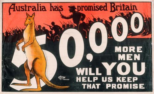 Australia has promised Britain 50,000 more men – 1915.
