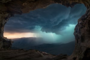Storm from a cave, Blue Mountains, NSW