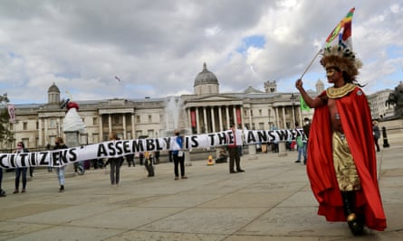 An Extinction Rebellion demonstration at Trafalgar Square on Saturday.