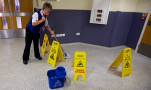 A cleaner at a hospital