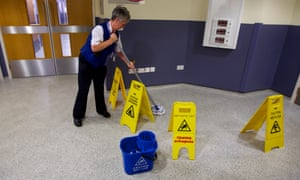 A cleaner at Liverpool Women's Hospital.