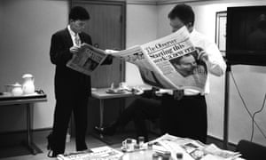 April 1997: Tony Blair gave photographer Tom Stoddart exclusive access to document his election campaign. Here Blair reads the Observer with his closest aides three days before his election.