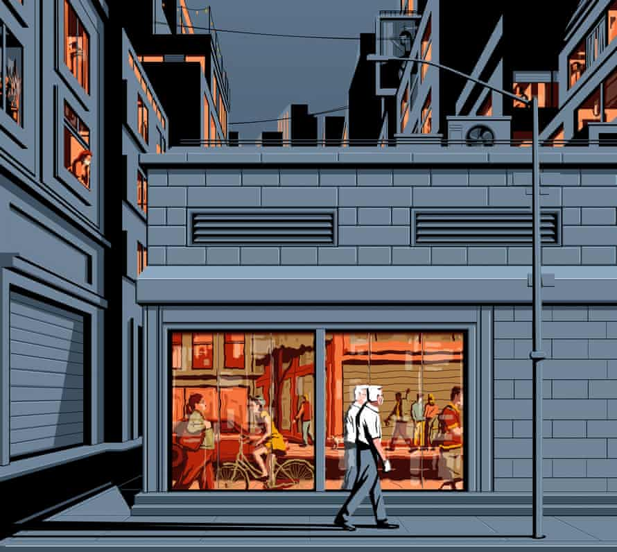 Illustration of man walking alone on street past people in windows