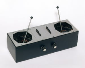 The Azimuth Co-Ordinator. A quadraphonic sound equipment box with pink metal panels, eight buttons, two joysticks and two knobs, it was custom built by Bernard Speaight for the band's concert at the Queen Elizabeth Hall, London, May 1967
