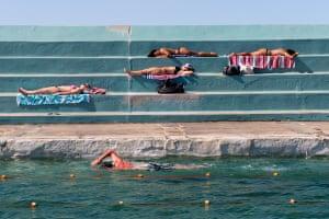 Swimmers and sunbathers in Australia