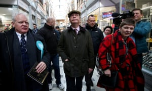 Brexit party leader Nigel Farage on a walkabout in Peterborough.