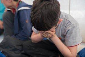 A nine-year-old boy in the Calais camp.