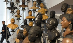 A gallery of busts from the 19th century on display at the Musee de l'Homme in Paris.