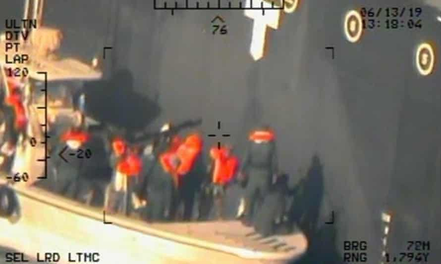 Commercial Oil Tankers Attacked In Gulf Of OmanUNSPECIFIED, GULF OF OMAN - JUNE 13: In this handout photo provided by the U.S. Department of Defense, imagery taken from a U.S. Navy MH-60R helicopter shows the Islamic Revolutionary Guard Corps Navy after removing an unexploded limpet mine from the M/T Kokuka Courageous. The Motor Tanker (M/T) Kokuka Courageous sustained damage from a limpet mine attack while operating in the Gulf of Oman, on June 13th. Limpet mines are attached to a vessel via magnets and/or nails and detonated by a timer. Following the attack, sailors from the Kokuka Couragous discovered a second, unexploded, limpet mine on their vessel and abandoned ship. (Photo by U.S. Department of Defense via Getty Images)