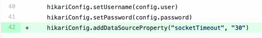 """Setting the socket timeout on a Hikari connection pool by using hikariConfig.addSourceProperty(""""socketTimeout"""", """"30"""")"""