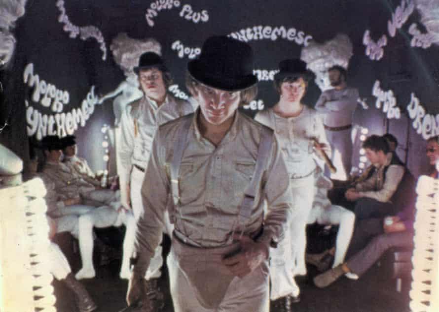Malcolm McDowell (centre) in A Clockwork Orange, 1971.