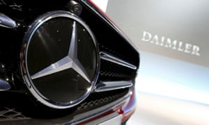 Mercedes badged care with Daimler sign in background