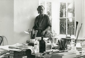 Patrick Heron in his studio at Eagles Nest in Cornwall c1968.