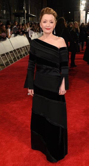 Lesley Manville, who is nominated for her role in Phantom Thread alongside Daniel Day Lewis, arrived straight from the Wyndham's Theatre where she was performing in her play, Long Day's Journey into Night.