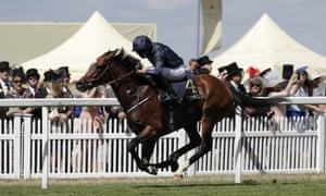 Hunting Horn ridden by Ryan Moore wins the Hampton Court Stakes.