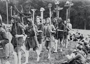 Boys and men take part in the Touching of the Totems rite, 1925.