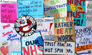 Posters made and carried by junior doctors during the strikes.