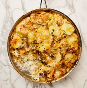 Upper crust: Yotam Ottolenghi's potato, leek and sauerkraut gratin.
