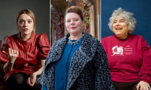 Composite of Aimee Lou Wood, left, Miriam Margolyes, and Joanna Scanlan, centre.