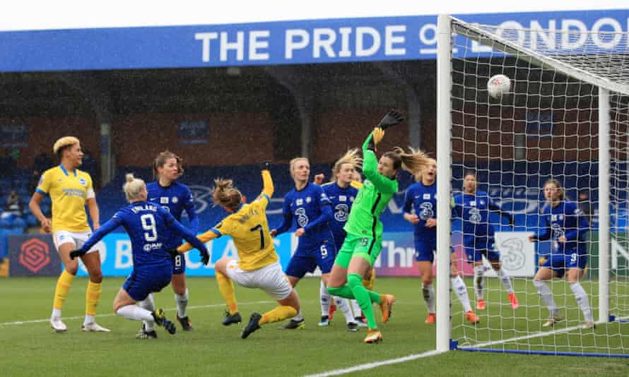 Brighton and Hove Albion's Aileen Whelan scores against Chelsea.