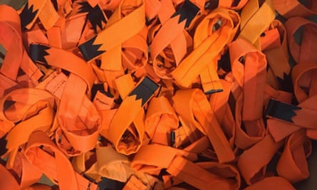Life jackets turned into ribbons by the Makers Unite collective to be sold to raise funds for the relief effort in Greece.