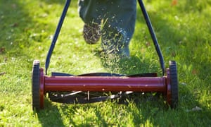 Man cutting grass with an environmentally friendly lawn mower