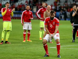 Don't take them home: Wales celebrate after beating Belgium 3-1 in Lille on Friday night.