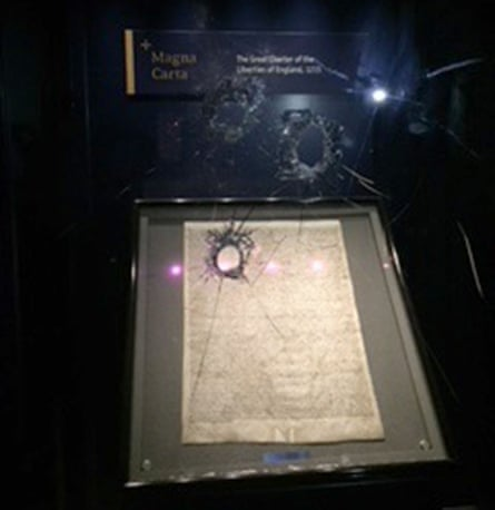 Damaged box with Magna Carta inside in Salisbury Cathedral.