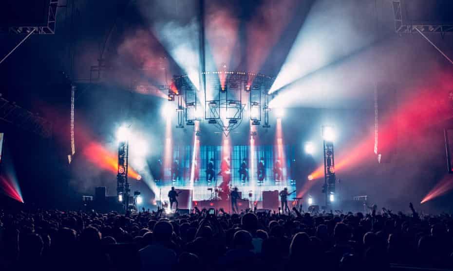 Enter Shikari performing at Alexandra Palace in London.