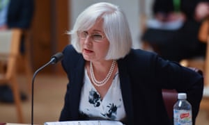 Services Australia CEO Rebecca Skinner at the Senate Inquiry into COVID-19 at Parliament House in Canberra.