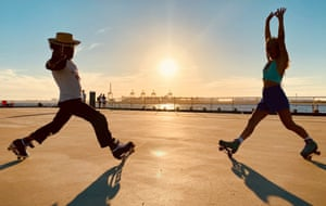 Hayley Grey (right) with a fellow skater at Princes Pier, Port Melbourne