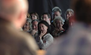 Under scrutiny … an audience at the Hay festival.