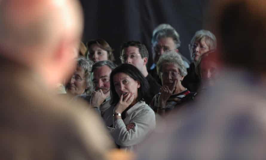 am audience at Hay festival listens to Clive James (left) and Nick Broomfield (right).