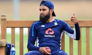 Adil Rashid looks relaxed during an England nets session at Edgbaston on Monday