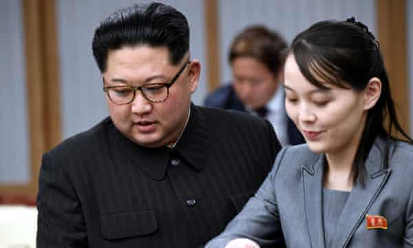 Kim Yo-jong with her brother at a meeting with South Korean president Moon Jae-in in the demilitarised zone in 2018