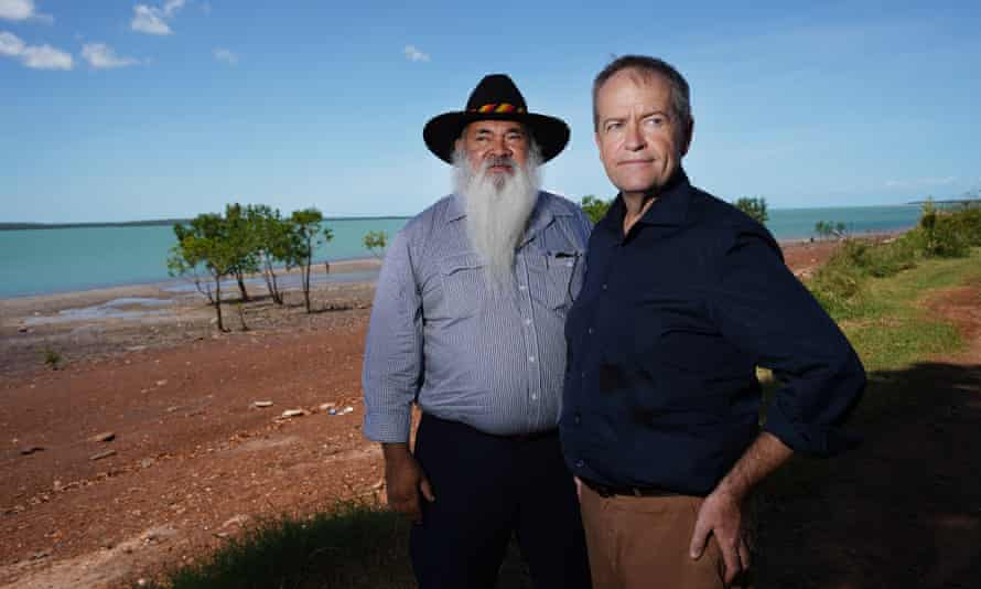 Bill Shorten and Western Australian senator Pat Dodson in the Tiwi Islands on Thursday. If Labor is elected, Australia will have a First Australian as Indigenous affairs minister for the first time