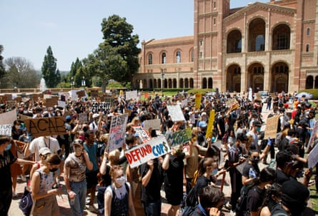A protest against the death of George Floyd at the University of California, Los Angeles (UCLA) campus in June.