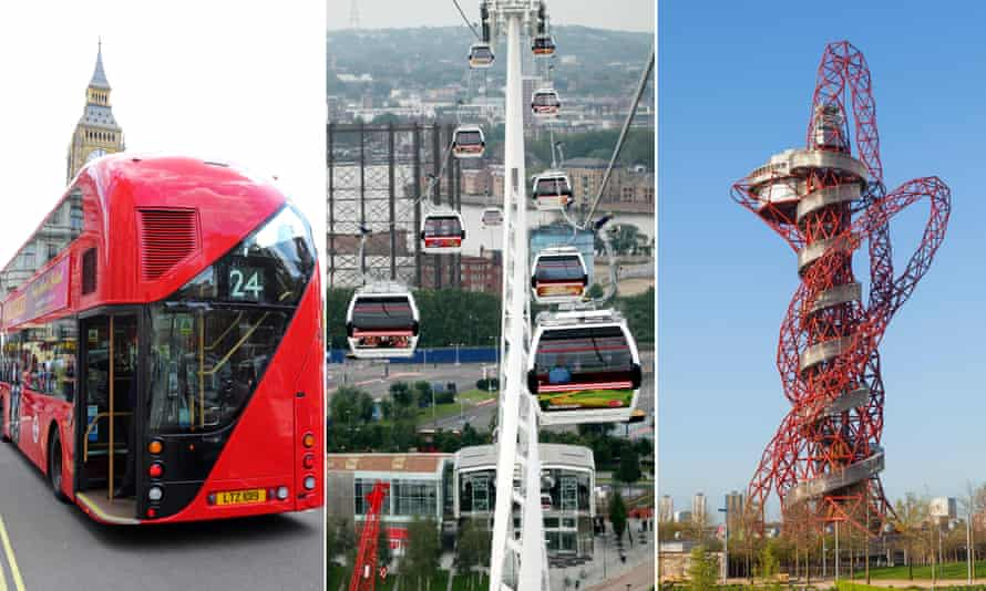 Not quite according to plan … the New Routemaster, Thames cable car and ArcelorMittal Orbit.