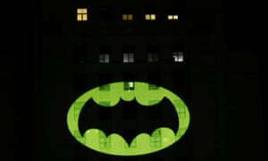 A bat signal is projected on City Hall in Los Angeles.